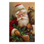 Vintage Santa Claus with Sack full of Toys Poster
