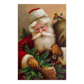Vintage Santa Claus with Sack full of Toys Posters