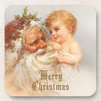 Vintage Santa Claus with Smiling Child Coaster