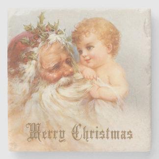 Vintage Santa Claus with Smiling Child Stone Beverage Coaster