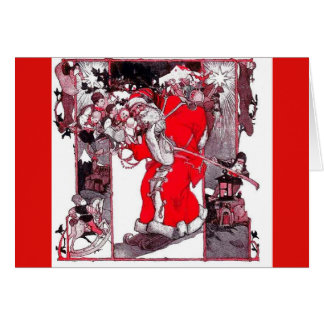 Vintage Santa Claus with Toy Sack Christmas Card