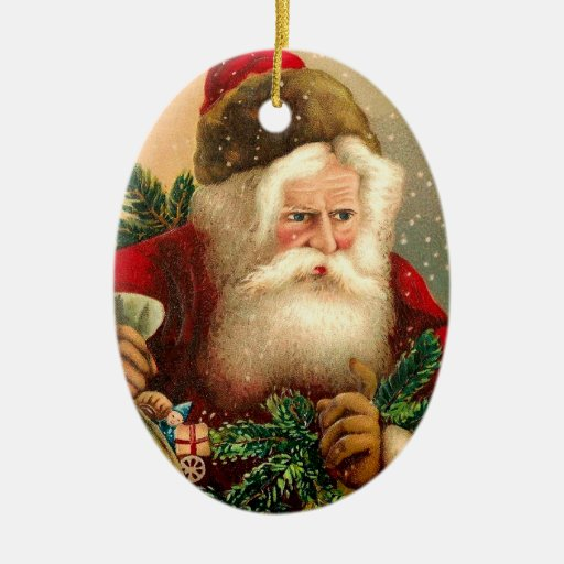 Vintage santa claus with toys christmas ornament