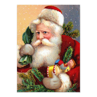 Vintage Santa Claus with Toys and Fir Twigs Invitations