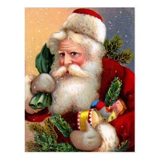 Vintage Santa Claus with Toys and Fir Twigs Postcard