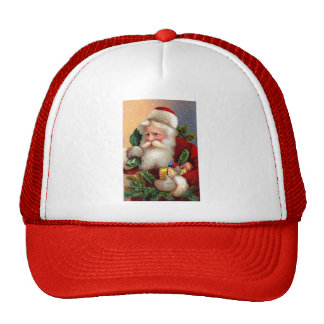 Vintage Santa Claus with Toys and Fir Twigs Trucker Hat