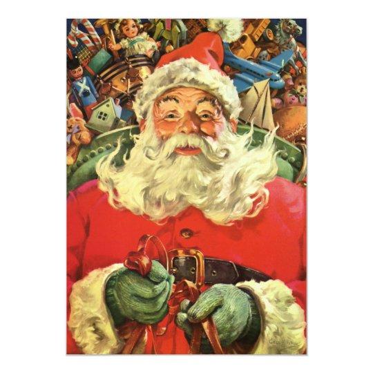 Vintage Santa Claus with Toys Christmas Invitation