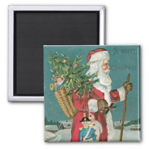 Vintage santa claus with toys christmas magnet zazzle
