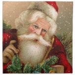 Vintage Santa Claus with Toys Cloth Napkin