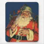 Vintage Santa Claus with Toys on Christmas Eve Mousepads