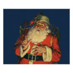 Vintage Santa Claus with Toys on Christmas Eve Poster