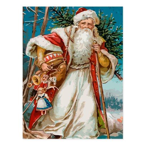 Vintage Santa Claus with toys postcard
