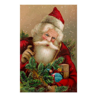 Vintage Santa Claus with Toys Poster