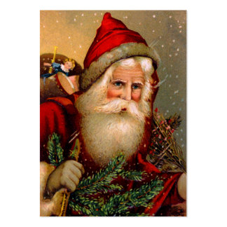 Vintage Santa Claus with Walking Stick Business Card Template