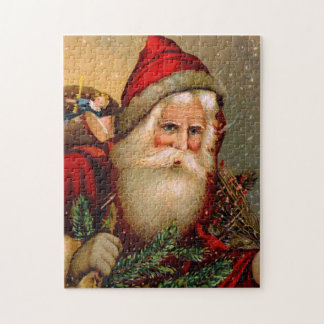 Vintage Santa Claus with Walking Stick Jigsaw Puzzle