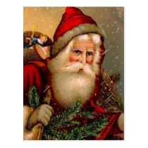 Vintage Santa Claus with Walking Stick Postcard