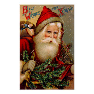 Vintage Santa Claus with Walking Stick Poster