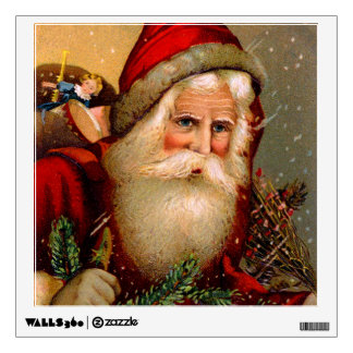 Vintage Santa Claus with Walking Stick Wall Decal