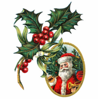 Vintage Santa Clause and Holly Ornament