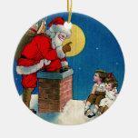 Vintage Santa Clause on Chimney Christmas Ornament Round Ceramic Ornament