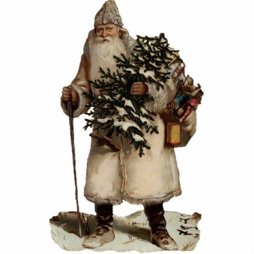 Vintage Santa Clause Sculpture Ornament Photo Cutout