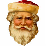 Vintage Santa Clause Sculpture Pin Photo Sculpture Button