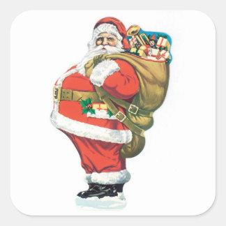 Vintage Santa Clause Square Sticker