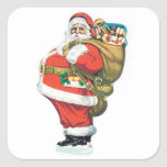 Vintage Santa Clause Square Stickers