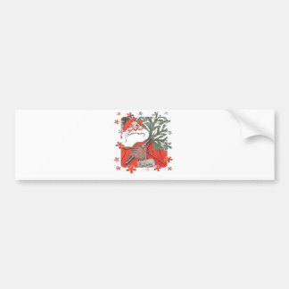 Vıntage Santa Clause With Gifts Car Bumper Sticker