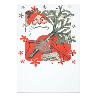 Vıntage Santa Clause With Gifts Card