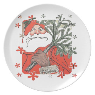 Vıntage Santa Clause With Gifts Melamine Plate