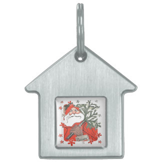 Vıntage Santa Clause With Gifts Pet Name Tag