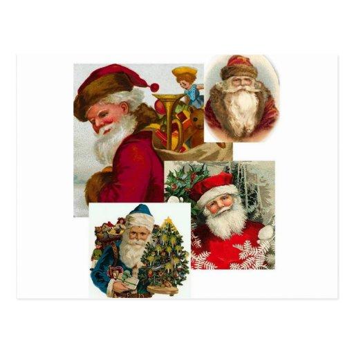 Vintage Santa Collage 1 Postcard