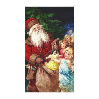 Vintage Santa con ángeles Impresión En Lienzo