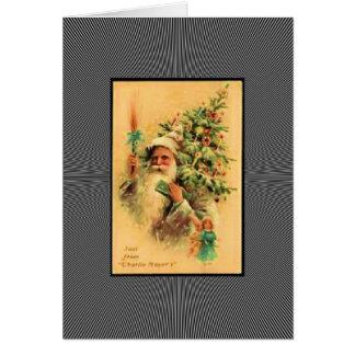 Vintage Santa con el árbol Tarjeta De Felicitación