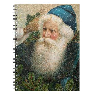 Vintage Santa con el casquillo azul Libros De Apuntes