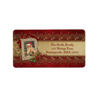 Vintage Santa con el cordón del Poinsettia y del Etiqueta De Dirección