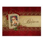 Vintage Santa con el cordón del Poinsettia y del Postal