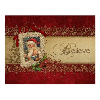 Vintage Santa con el cordón del Poinsettia y del Tarjetas Postales