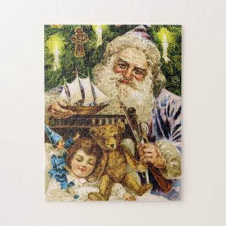 Vintage Santa con el peluche y la nave Rompecabezas