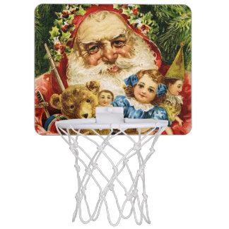 Vintage Santa con el peluche y las muñecas Canastas Mini
