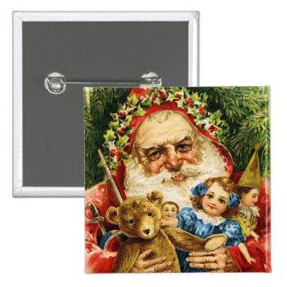 Vintage Santa con el peluche y las muñecas Pins