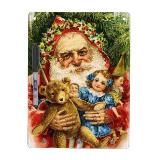 Vintage Santa con el peluche y las muñecas Tablero Blanco