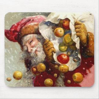 Vintage Santa con el saco de antigüedad de Apple d Alfombrilla De Ratón