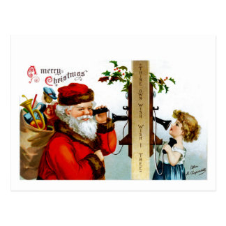 Vintage Santa con el teléfono Postales