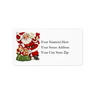 Vintage Santa con la etiqueta de dirección de la a