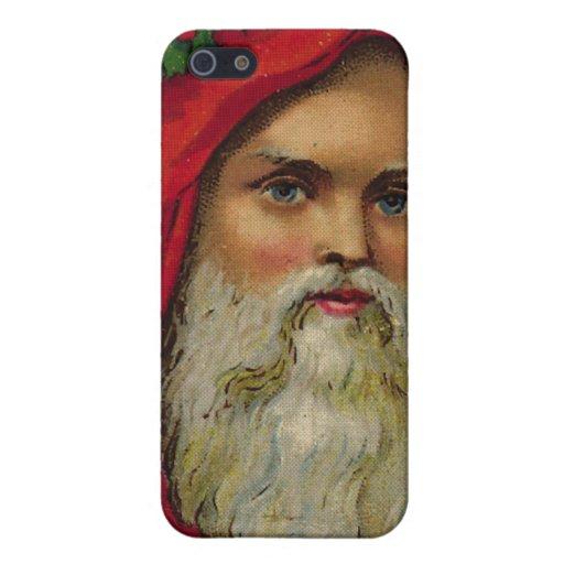 Vintage Santa con la guirnalda iPhone 5 Cárcasas