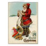 Vintage Santa con la lista Felicitacion