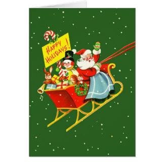 Vintage Santa con la tarjeta de Navidad del trineo