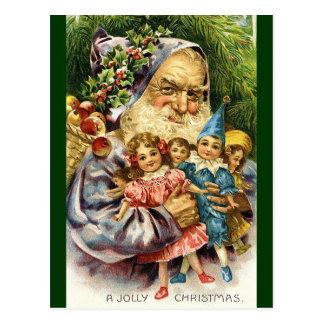 Vintage Santa con las muñecas Postales