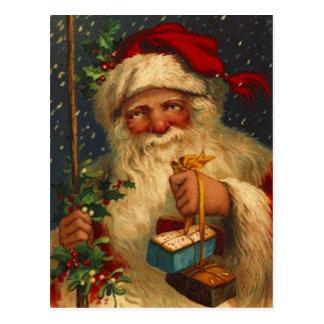 Vintage Santa con los copos de nieve que nievan de Tarjetas Postales